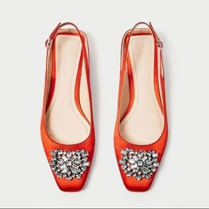 Zara Orange Satin Slingback Flats!!!